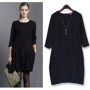 S1450 middle-sleeve large yard bottoming dress-black