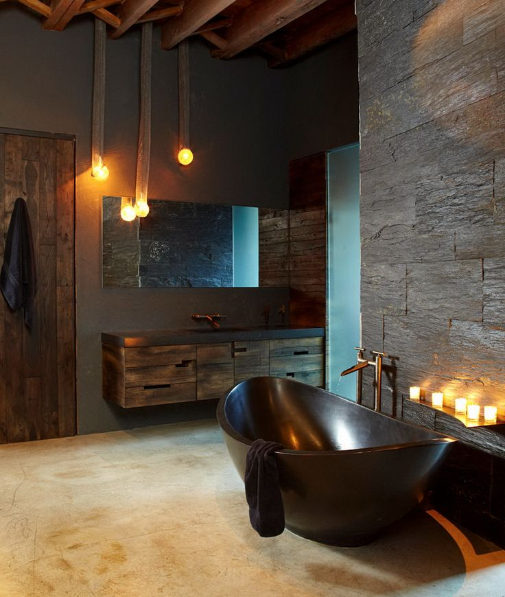 Gorgeous Modern Rustic Bathroom Love The Tub Lighting Etc This Amazing Loft Was Built