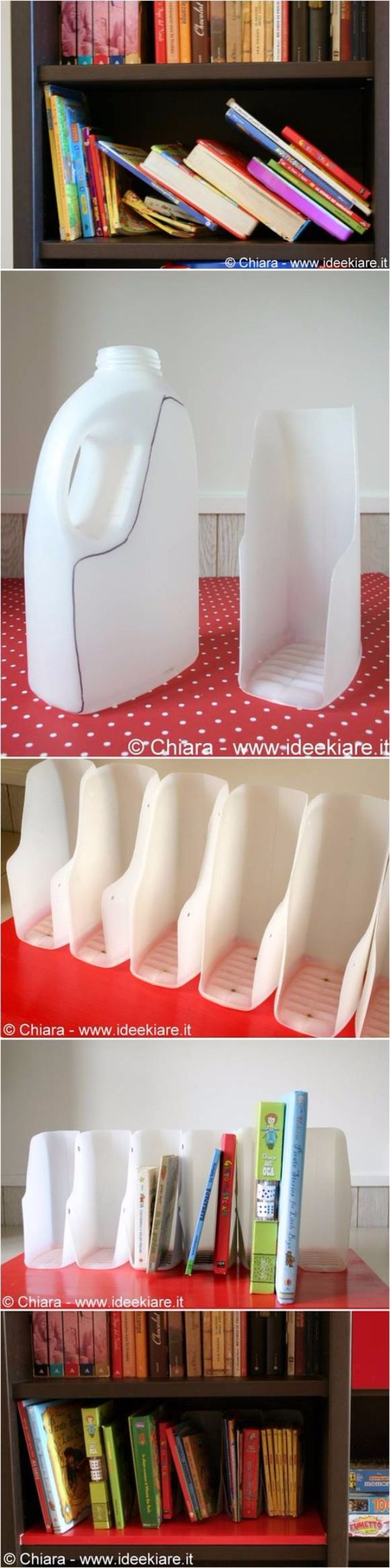 Cool DIY Projects Made With Plastic Bottles - DIY Book Organizer From Plastic Bottles - Best Easy Crafts and DIY Ideas Made With A Recycled Plastic Bottle - Jewlery, Home Decor, Planters, Craft Project Tutorials - Cheap Ways to Decorate and Creative DIY Gifts for Christmas Holidays - Fun Projects for Adults, Teens and Kids http://diyjoy.com/diy-projects-plastic-bottles