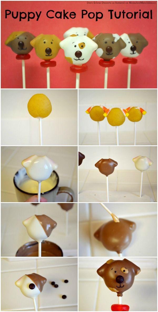 Tutorial de Pop Cake de Cachorro ________________ Puppy Cake Pops Tutorial http://www.momsandmunchkins.ca/2014/07/27/dog-cake-pops/ #CakePops