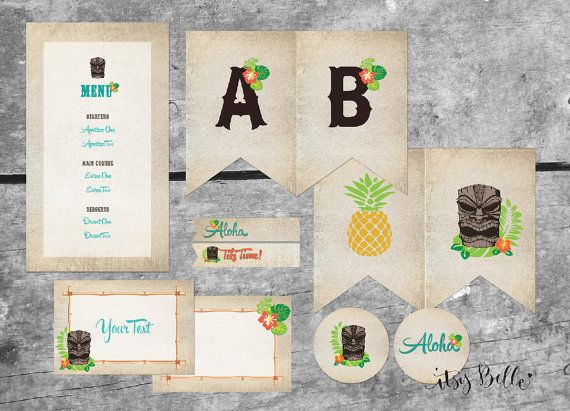 Hawaiian Tiki Party Luau INSTANT DOWNLOAD PRINTABLES Party Banner, Signs, Menu, Labels by ItsyBelle, $25.00