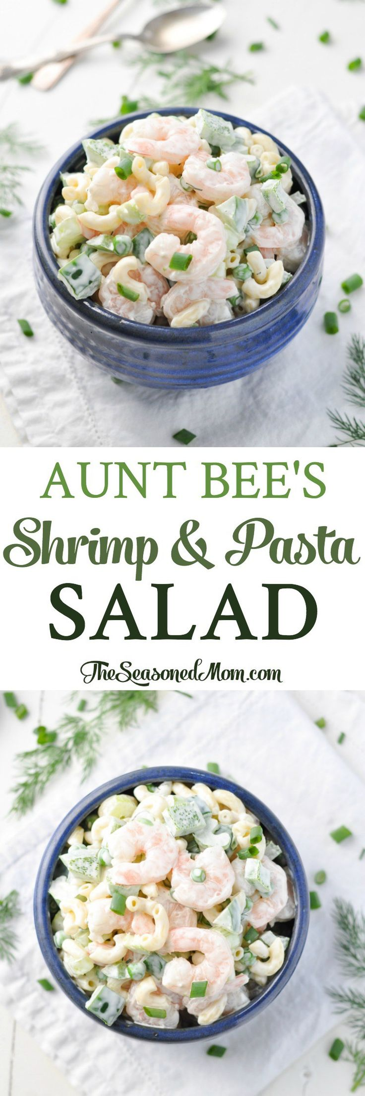 Aunt Bee's Shrimp and Pasta Salad is a light dish that is versatile and simply delicious!