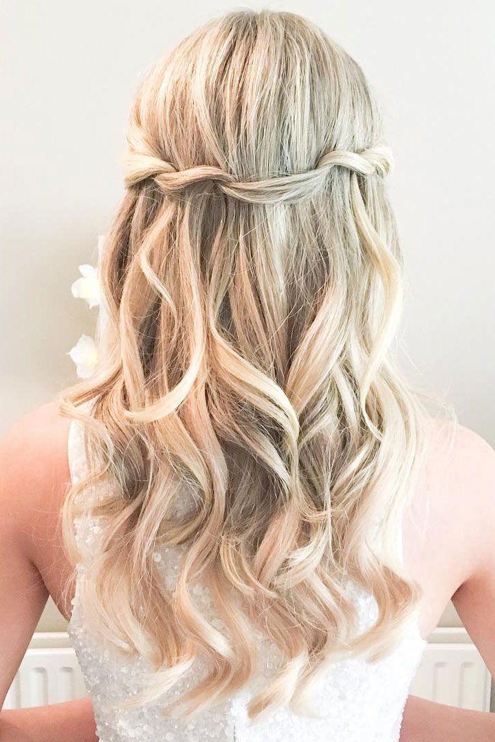 Pretty Half Up Half Down Beach Wedding Hairstyle Wavy Wedding Hair Wedding Hair Down Bridesmaid Hair Long