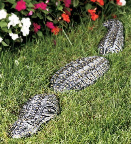 Bronze Lawn Gator Garden Sculpture   Outdoor Garden And Patio   Garden  Sculptures By Wind U0026