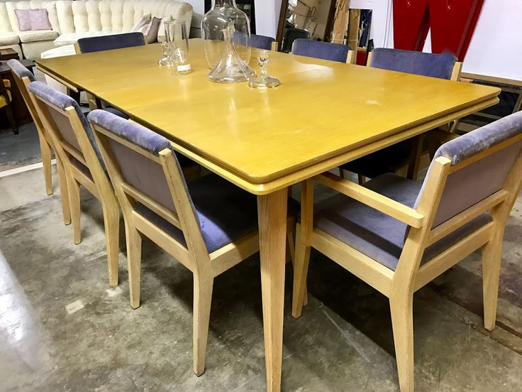 Blonde Dining Table With Two Extensions and Eight Chairs  650 Mid Century  Dallas Booth  667. 496 best Mid Century Furniture images on Pinterest   Dallas  Mid