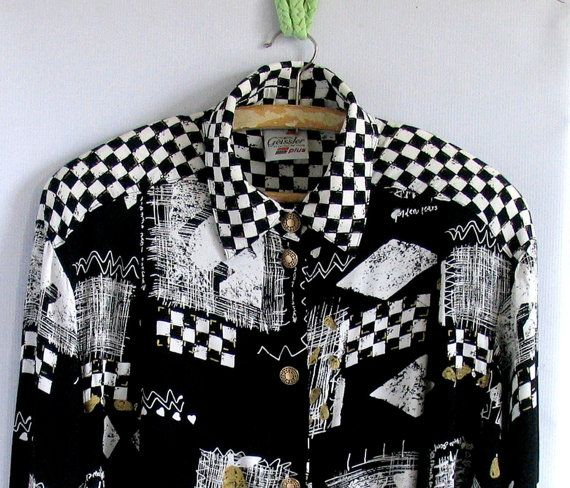 80s GEOMETRIC graphic print sheer blouse / black white by vintachi, $22.00