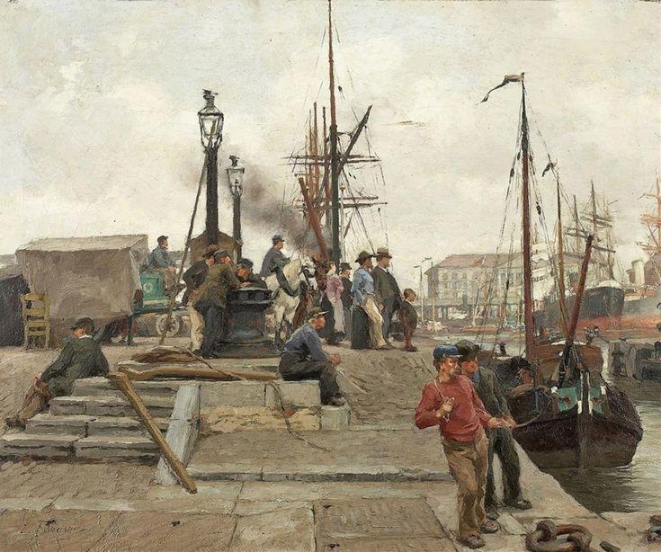 Живопись маслом Edgard Farasijn (1858-1938), Le Port d'Anvers.