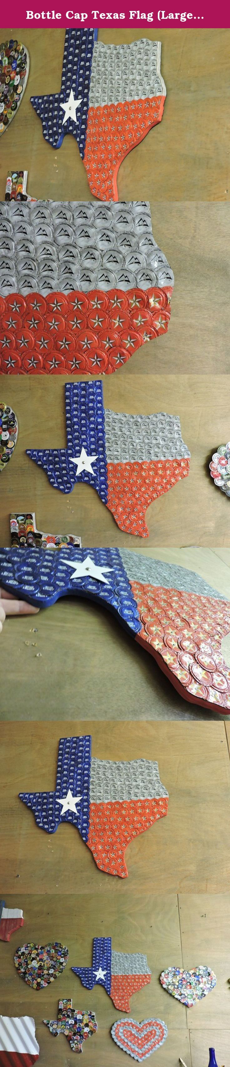 "Bottle Cap Texas Flag (Large) (#6) (Bud Lite, Coors, Lone Star beer caps). Bottle Cap Texas. Outline of Texas covered in bottle caps to look like the Texas Flag. Dimensions are approximately 23 1/2"" by 23"" -- longest point to longest point (El Paso to Gulf; Panhandle to Brownsville). Caps are flattened and then nailed to 1/2"" plywood. They overlap so you only see bottle caps, no wood. The edge of the plywood is painted to match corresponding color in the flag. Star is made from metal…"
