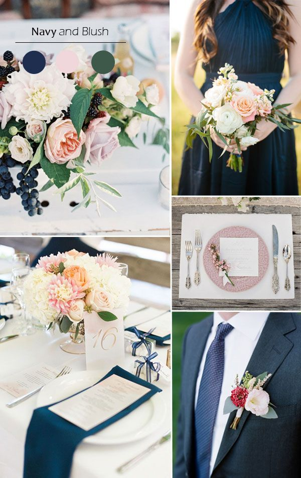 navy blue and blush fall wedding color scheme 2015 trends