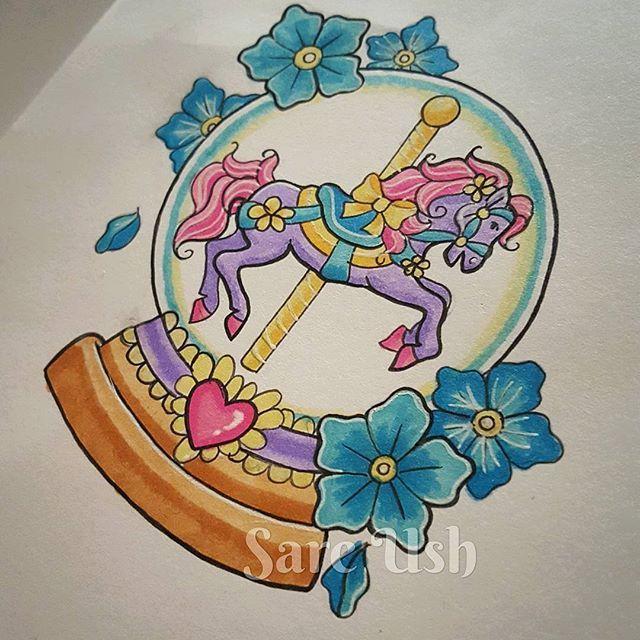 Carousel Snow Globe Tattoo