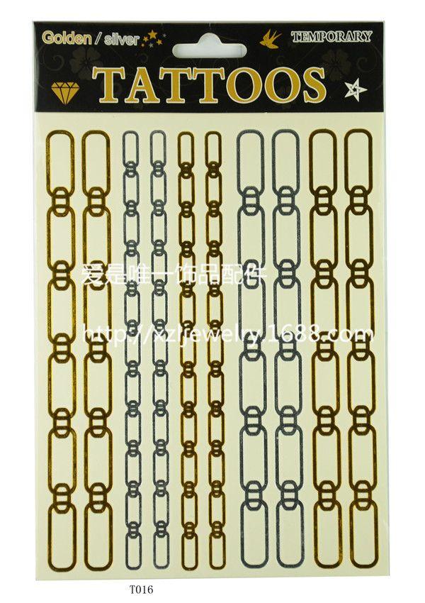 Флэш-тату золото серебро женщины-бич браслет водонепроницаемый временные татуировки вдохновленный ювелирных изделий продукты металлик боди-арт макияж