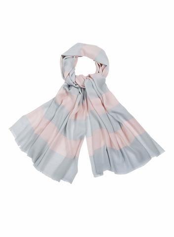 MARIMEKKO GALLERIA SCARF POWDER, LIGHT GREY  #stripes #wool #blush #rose #balletpink #grey #stripes #stripe #pastel #marimekko #pirkkoseattle #pirkkofinland