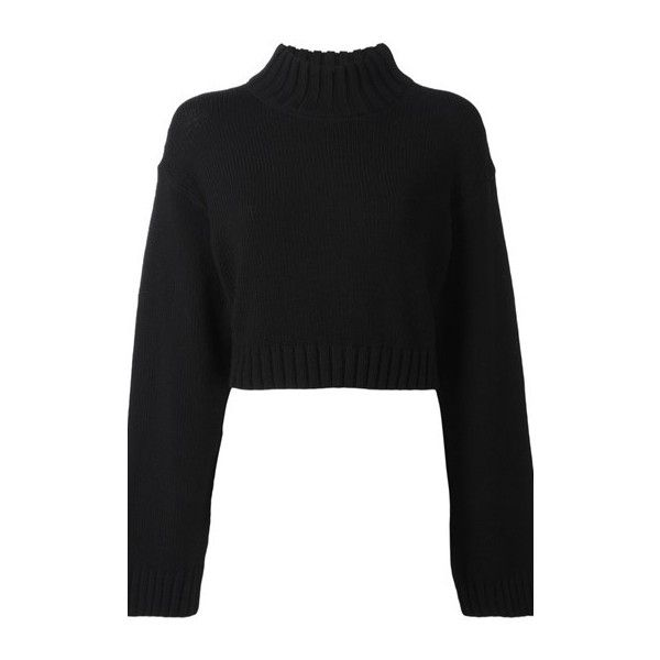 D K N Y Cropped Jumper found on Polyvore featuring tops, sweaters, black, long sleeve sweater, jumpers sweaters, roll neck sweater, long sleeve jumper and cropped sweater
