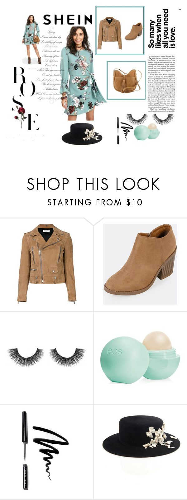 """SHEIN // Rose"" by aminazerina on Polyvore featuring Yves Saint Laurent, Velour Lashes, Eos, Bobbi Brown Cosmetics and Lucky Brand"