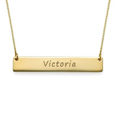 Engraved Bar Necklace 10ct Solid Gold