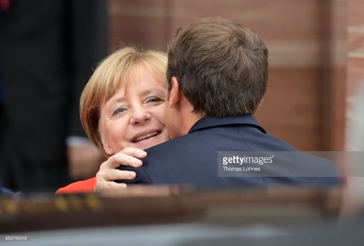 German Chancellor Angela Merkel and French President Emmanuel Macron pictured before bilateral talks while attending the opening of the Frankfurt Book Fair 2017 (Frankfurter Buchmesse) on October 10, 2017 in Frankfurt, Germany. The two leaders are known to have a good working relationship and share a number of policy views. The Frankfurt Book Fair will be open to the public from October 11-15.
