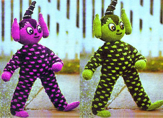 PDF Vintage 1970s Alien Toy Knitting Pattern Teddy Rag Doll