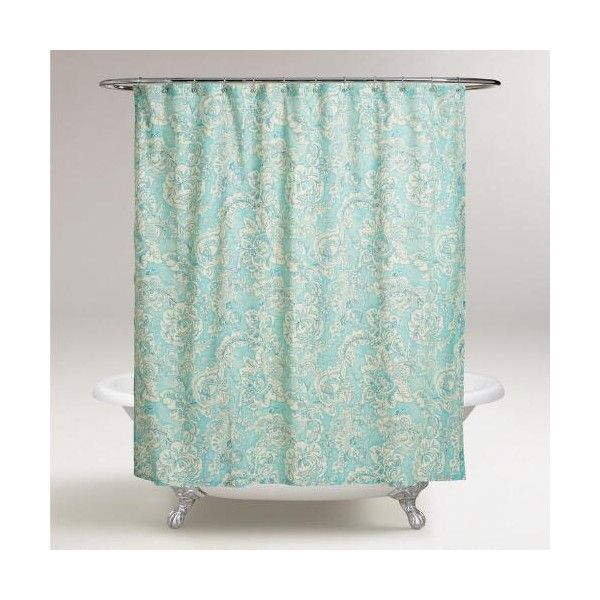 Cost Plus World Market Aqua Floral Adelaide Shower Curtain ($18) ❤ liked on Polyvore featuring home, bed & bath, bath, shower curtains, blue, blue shower curtains, aqua shower curtains, flowered shower curtains, cost plus world market and floral shower curtains
