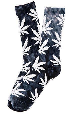 HUF Socks Tie Dye Plantlife Crew Black - Karmaloop.com