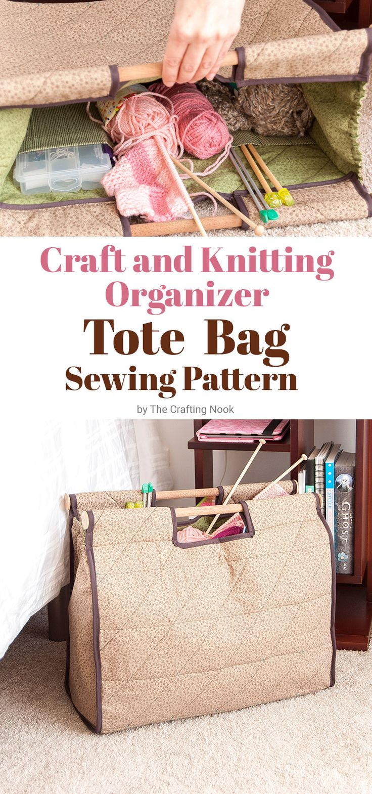 Organization Time! If you need a cute bag to keep organized your current craft or knitting project in one place, I got you covered! Check out this cute and easy Craft and Knitting Organizer Tote Bag (with free Sewing Pattern)