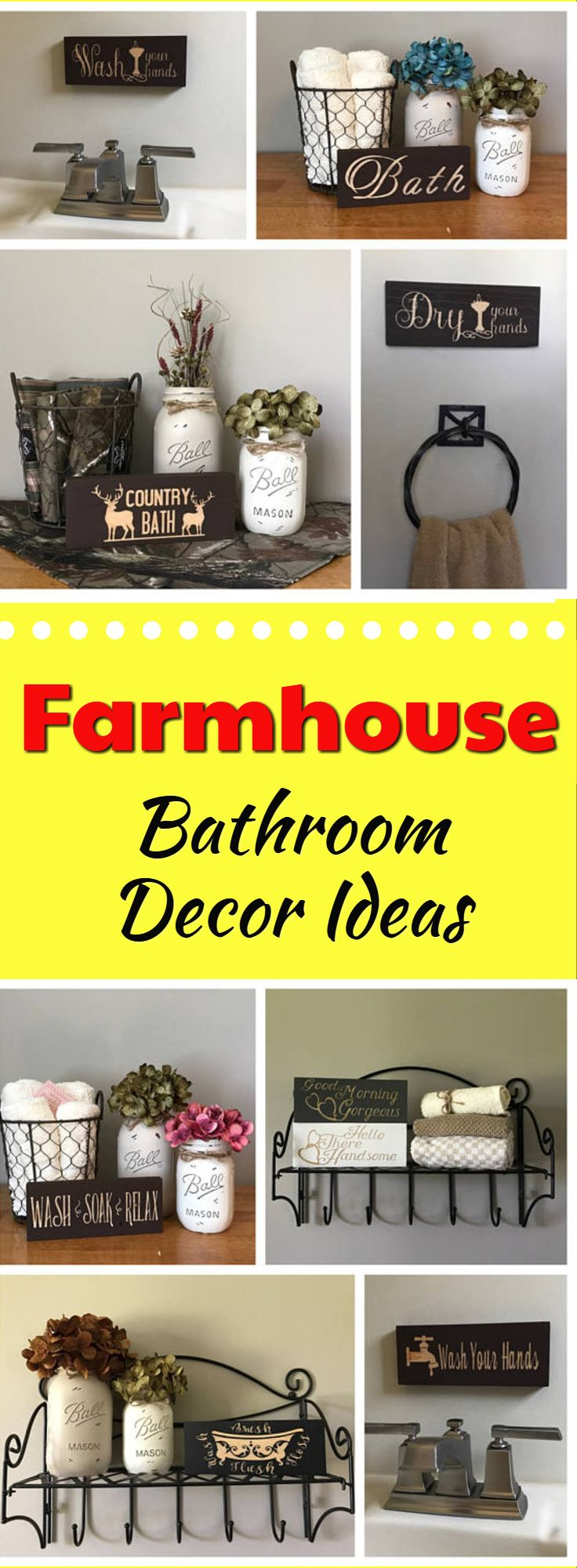 Look at these simple farmhouse decor ideas and signs! Bathroom Sign, Bathroom Decor, Bath Sign, Wood Block Sign, Bathroom Shelf Sign, Powder Room Sign, Mini Wood Sign, Rustic Farmhouse Decor #farmhouse #ad #bathroomsigns