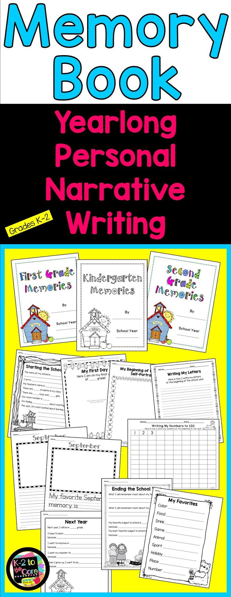 While creating a precious keepsake, this yearlong memory book project will guide you in teaching your K-2 students how to write personal narrative paragraphs. They'll learn the process of brainstorming ideas, choosing one, filling in a graphic organizer (web), and then writing a paragraph including a topic sentence, detail sentences, and a closing sentence.