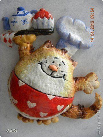 Картина панно рисунок Лепка Три котика для Маришки Тесто соленое фото 1