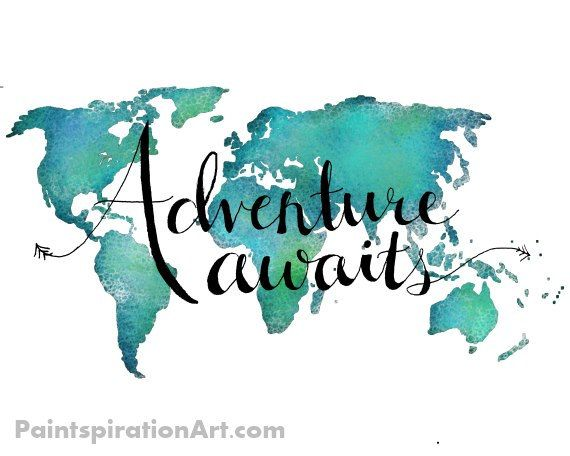 Travel Art Print World Map Art Print Adventure by Paintspiration
