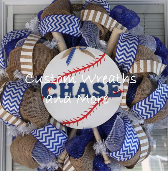 Hey, I found this really awesome Etsy listing at http://www.etsy.com/listing/153619517/custom-order-baseball-team-wreath