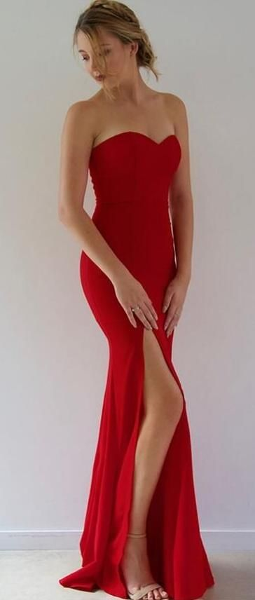 7ec5c380e7 Mermaid Red Long Prom Dress With Side Slit,simple Prom Dress ...