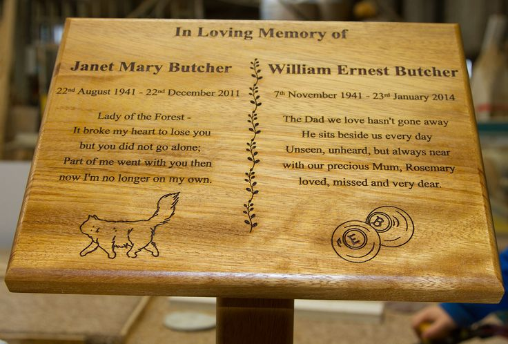 The wooden memorial plaques can be fixed to an assortment of metal or wooden posts and tree stakes. http://www.sign-maker.net/tree-stakes-plaque-holders.html