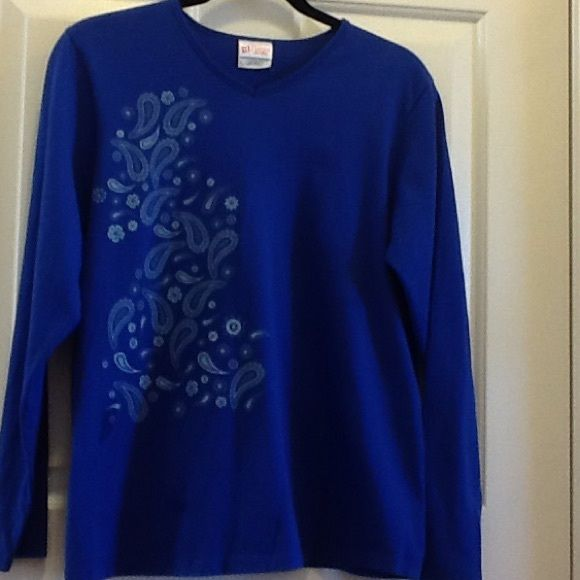 Blue Long Sleeve T-Shirt Blue long sleeve t-shirt with paisley design on one side. Worn once. Perfect condition. 100% cotton. No trades. Hanes Her Way Tops Tees - Long Sleeve
