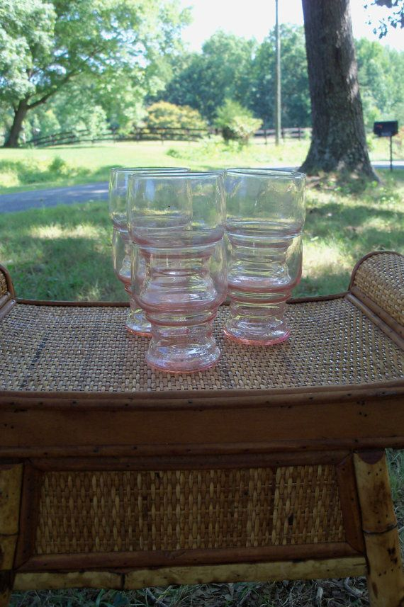 Pink Drinking Glass Set Of Six Mid Century by AntiquesandVaria, $28.20