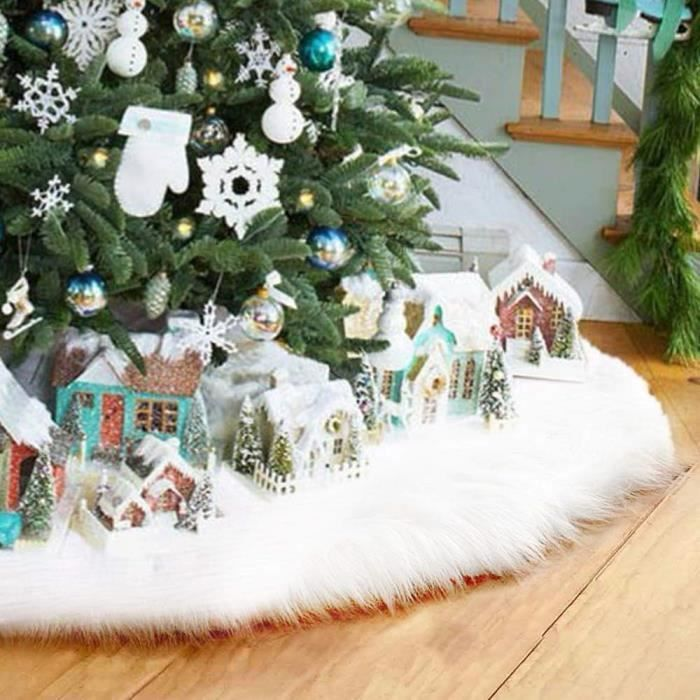 Jupe Sapin De Noel Jupe de Sapin de Noël Blanc Peluche Neige Décorations d'arbre de