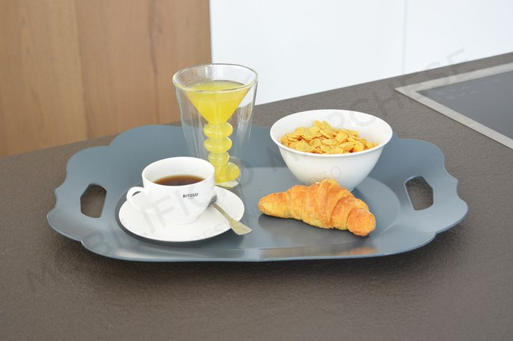 Bitossi breakfast with: Federica Teacup, Martini glass, Federica fruit bowl and Romantic tray with handles.