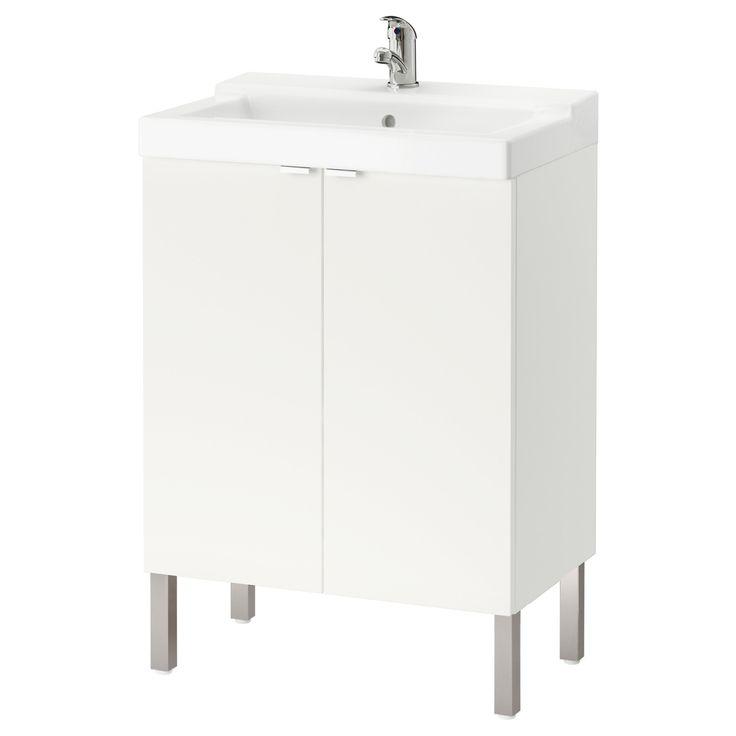 IKEA - LILLÅNGEN / TÄLLEVIKEN, Kastje voor onder wastafel 2 deuren, wit, , Door z'n vorm kan de rand worden gebruikt als planchet voor een zeepje of een tandenborstelbeker.
