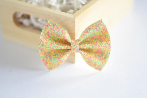 """Set Of 3 Pink Yellow Orange Neon Glitter Fabric Hair Bow Clips 2.5/"""""""