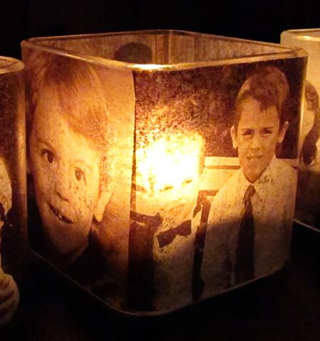 Cute centrepiece idea - photos of the couple growing up, dating photos, engagement photos, etc