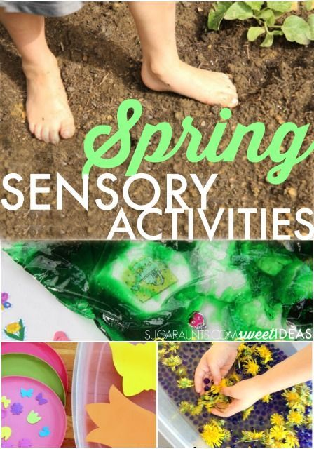 Easy Spring-themed sensory ideas for tactile sensory play, sensory processing, proprioception, scented sensory play, and more.  Easy set-up and mess-free with easy clean up ideas for sensory activities.