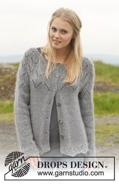 """#Jacket with round yoke and #lace pattern in """"BabyAlpaca Silk"""", """"Kid- Silk"""" and """"Glitter"""". Pattern now online!"""