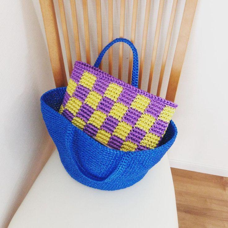 アウトドアにも最適♪かぎ針で編むビニール紐バッグ☆ | Handful