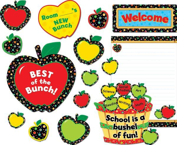 Poppin' Patterns Back To School Apples Bulletin Board Set