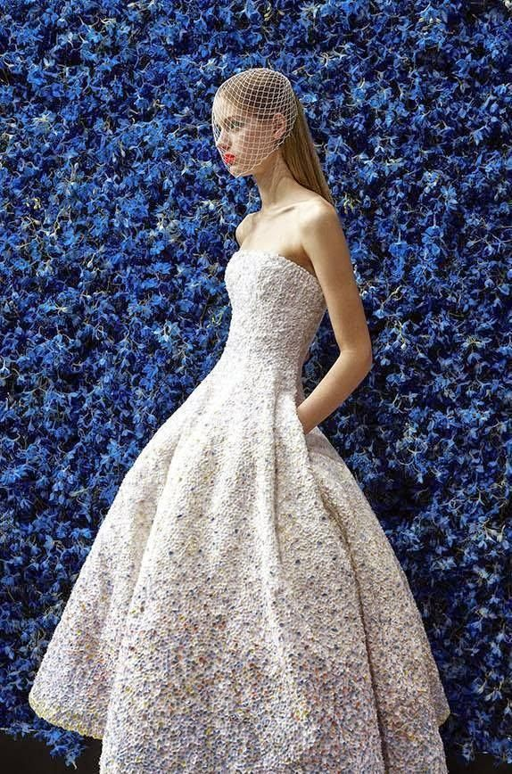 "Raf Simons for Christian Dior Haute Couture, photographed by Patrick Demarchelier for ""The New Dior Couture"", the Fall/Winter 2012 Collection. (The floral wall back drop by Parisian florist Eric Chauvin)."