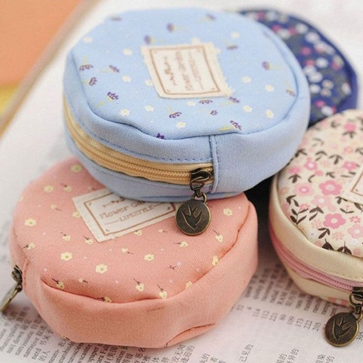 Cute Round Women Girl Canvas Coin Purse Portable Mini Wallet Purse Zip Coin Bags