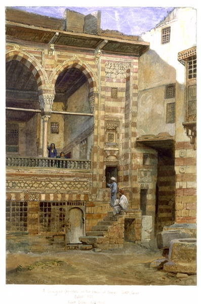 A courtyard, Al Hosh, in the house of Shiekh Sadat, Cairo, 1873 Prints by Frank Dillon