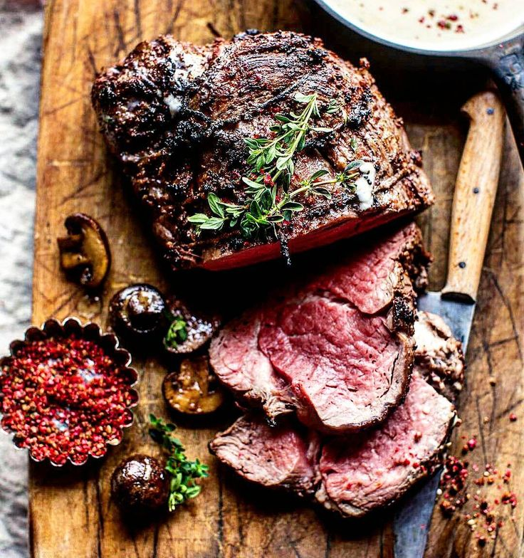 Prime-grade tenderloin steak grilled to glorious medium-rare perfection. Paired with caramelized wild mushrooms a lite white wine cram sauce and fresh herbs. #myfoodeatsyourfood  . Courtesy: Half Baked Harvest | @halfbakedharvest . . . . . Blog: http://if