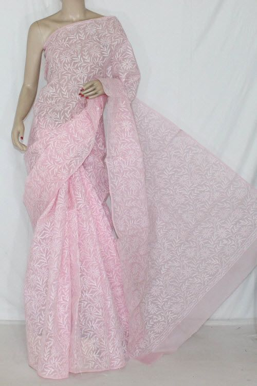 Light Pink Hand Embroidered Allover Tepchi Work Lucknowi Chikankari Saree (With Blouse - Cotton) 14360
