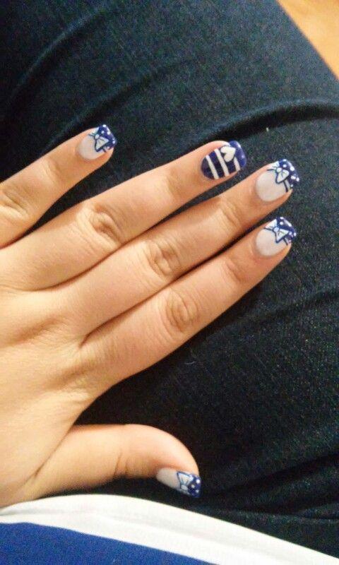 #moño #corazón #uñas #blue #white #nils #azul #blanco