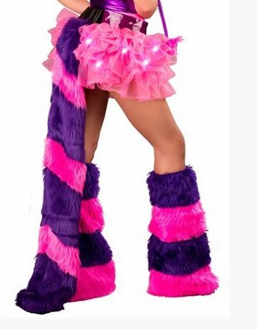 Sexy Cheshire Cat Belt with Tail - Purple and pink faux fur are all you need