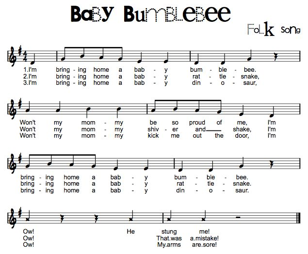 Beth's Music Notes: Baby Bumblebee